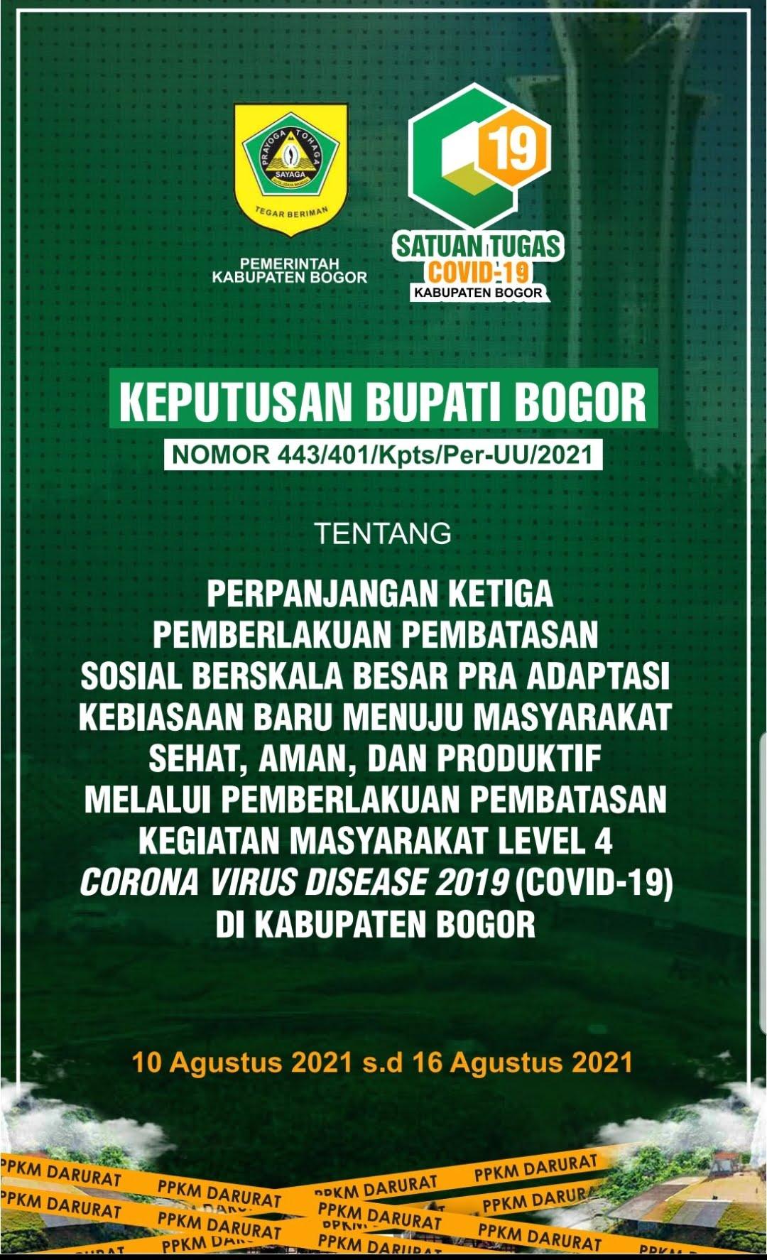 Pelonggaran Aturan Pada Perpanjangan Ketiga PPKM Level 4 Di Kabupaten Bogor